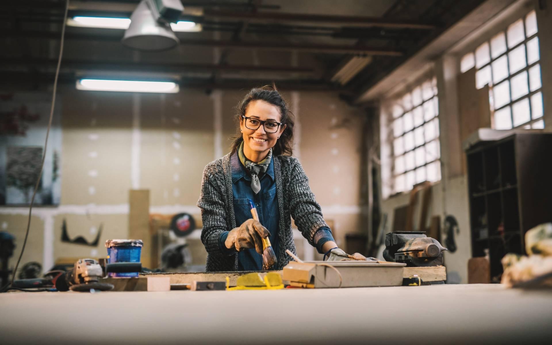 Woman in workshop